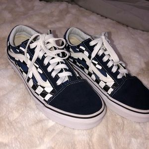 Blue Checkered Flame Old Skool Vans